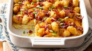 Impossibly Easy Bacon, Egg and Tot Bake
